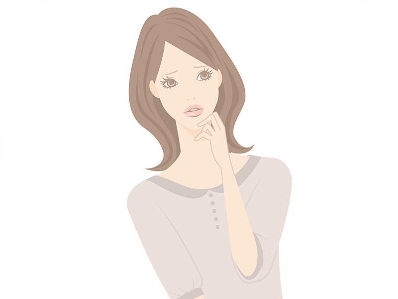 考え込む女性のイラスト