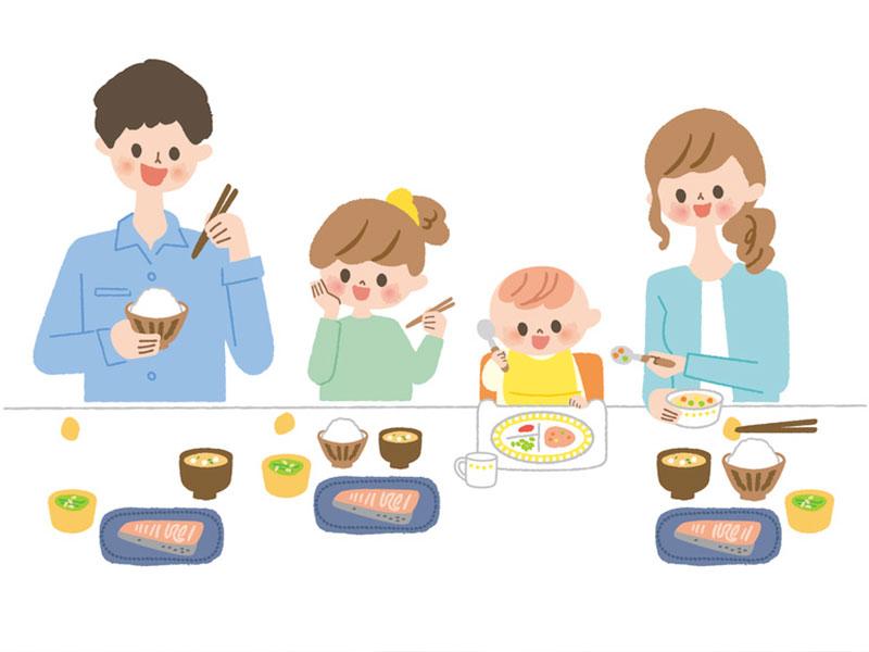 4人家族の食卓のイラスト
