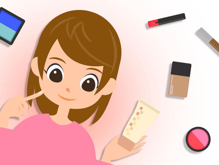 試供品の化粧水や化粧品を持っている女性のイラスト
