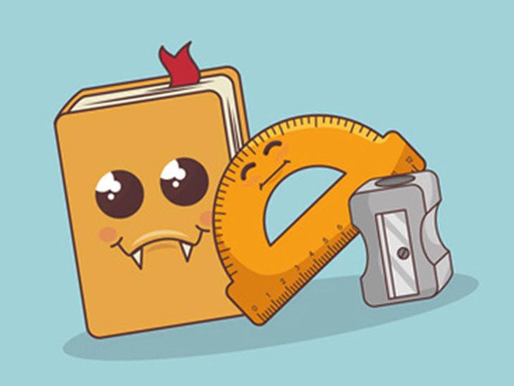 本と文房具のイラスト