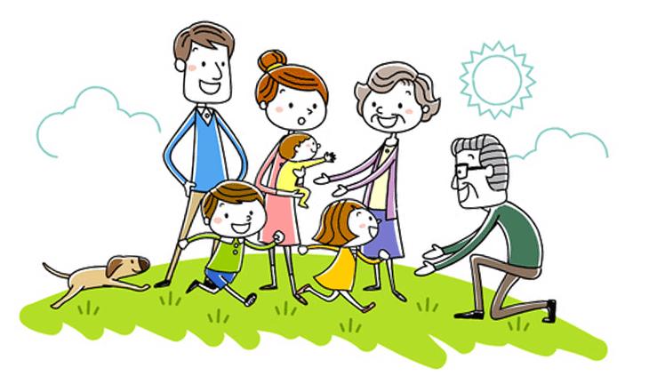 親子三世代で散歩をしているイラスト